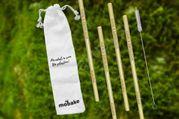 Bambusové slamky 4ks + čistiaca kefka vo vrecúšku Mobake